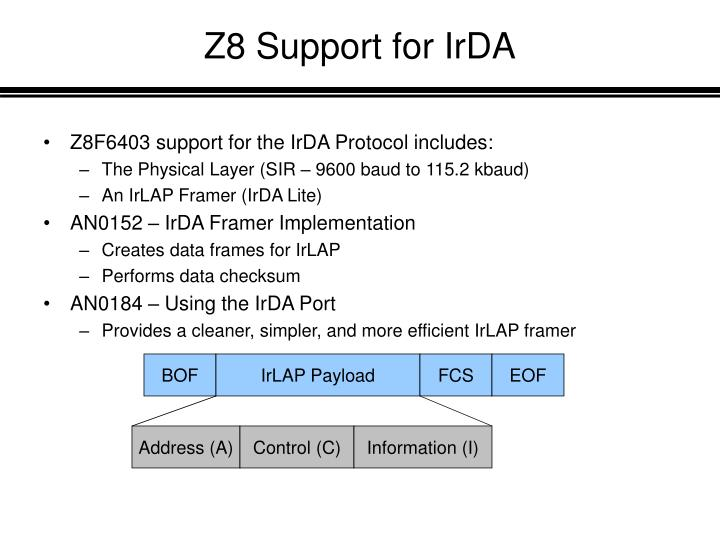 Z8 Support for IrDA