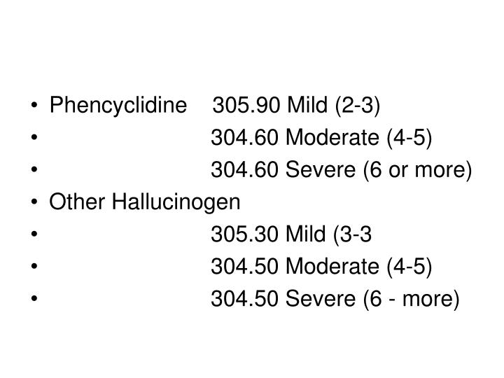 Phencyclidine    305.90 Mild (2-3)