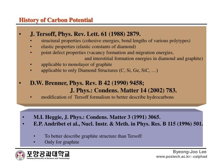 History of Carbon Potential