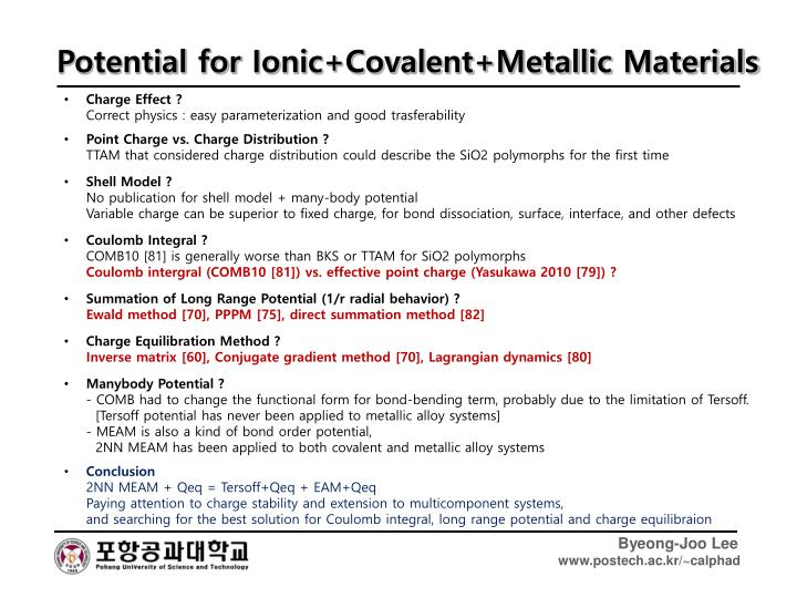 Potential for Ionic+Covalent+Metallic Materials