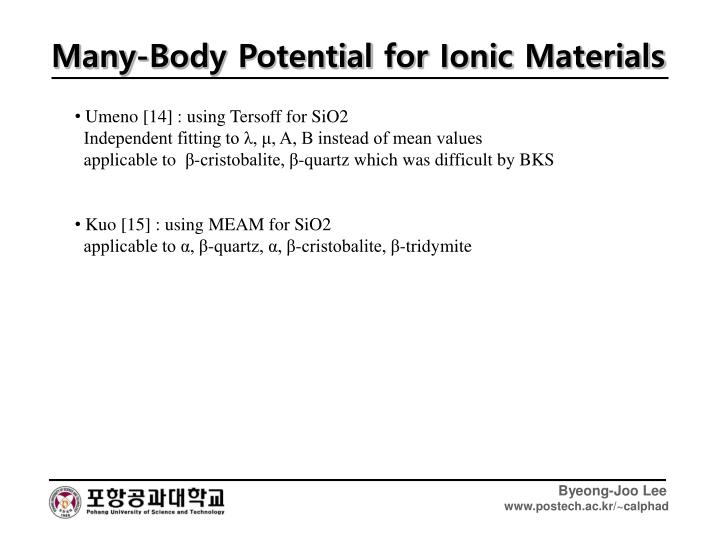 Many-Body Potential for Ionic Materials