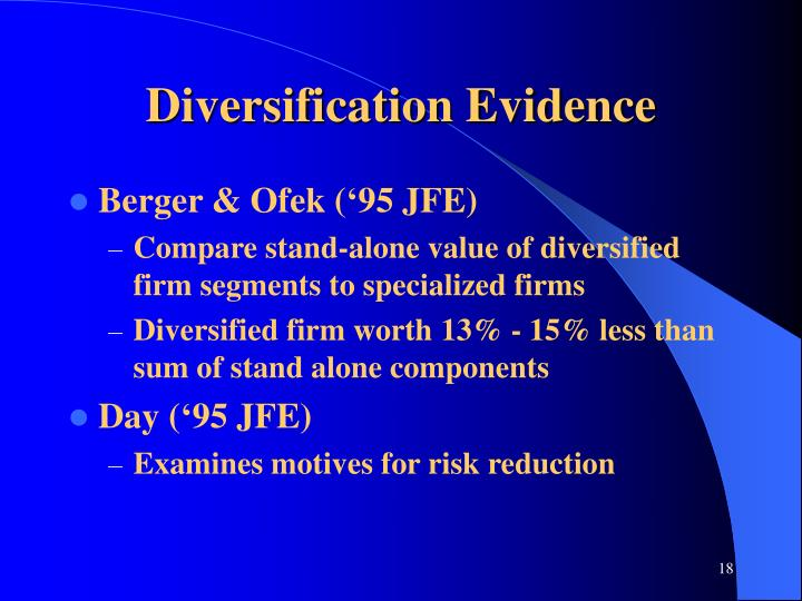 Diversification Evidence