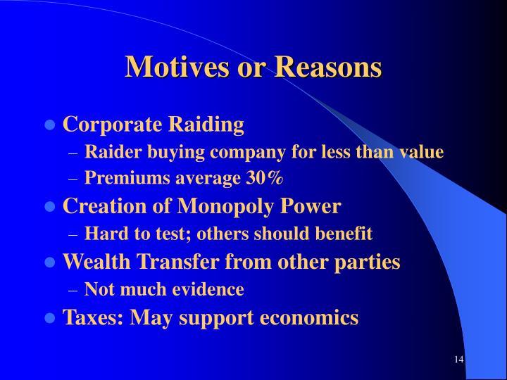 Motives or Reasons