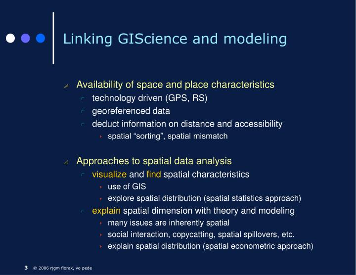 Linking giscience and modeling
