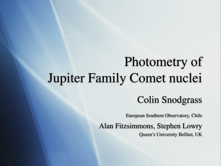 photometry of jupiter family comet nuclei n.