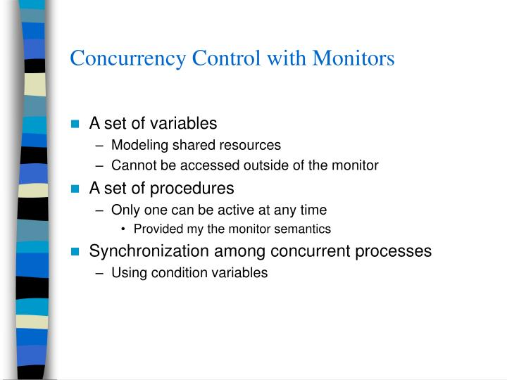 Concurrency Control with Monitors
