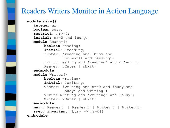 Readers Writers Monitor in Action Language