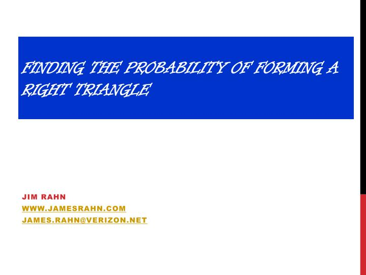finding the probability of forming a right triangle n.