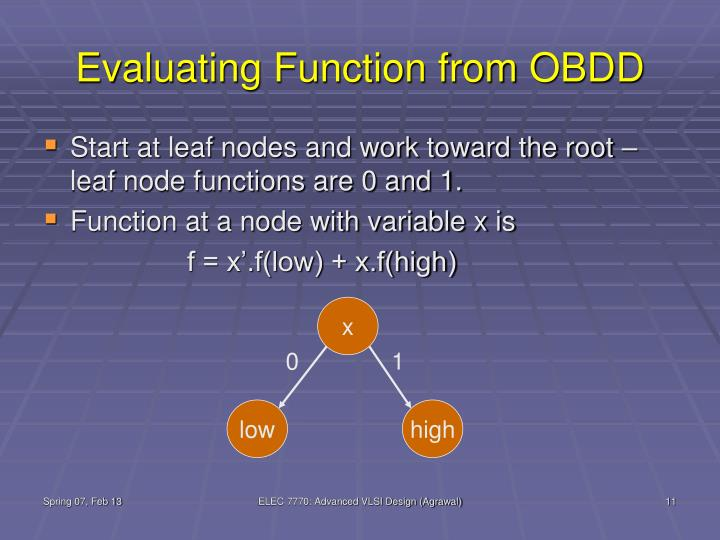 Evaluating Function from OBDD