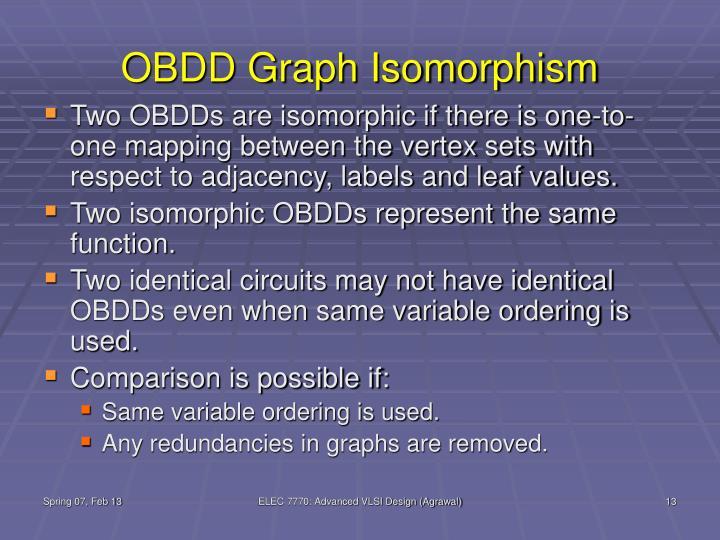 OBDD Graph Isomorphism