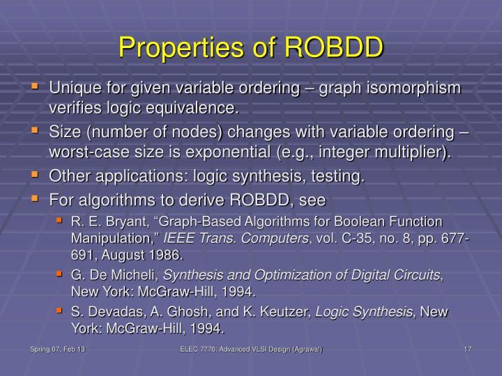 Properties of ROBDD