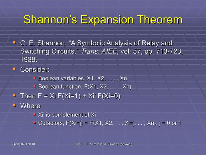 Shannon s expansion theorem