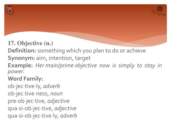 17. Objective (n.)