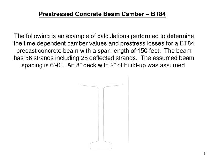 prestressed concrete beam camber bt84 n.