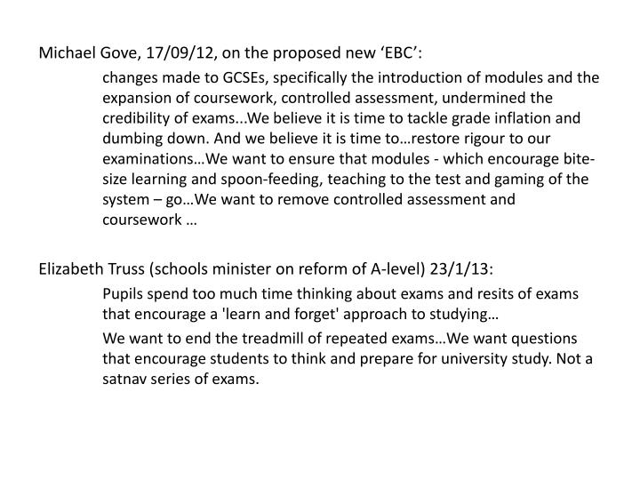 Michael Gove, 17/09/12, on the proposed new 'EBC':