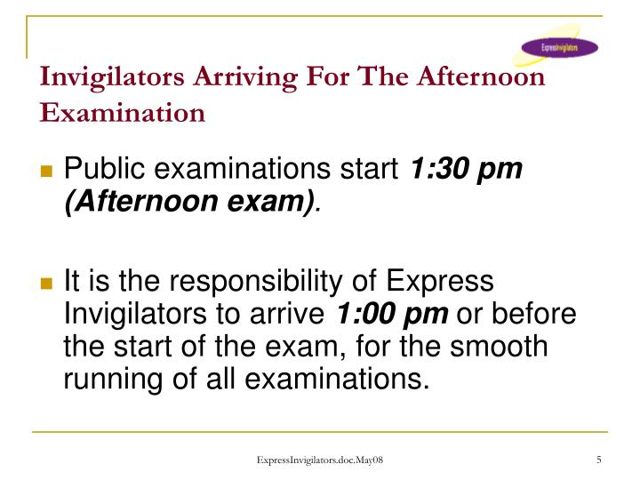 Invigilators Arriving For The Afternoon Examination