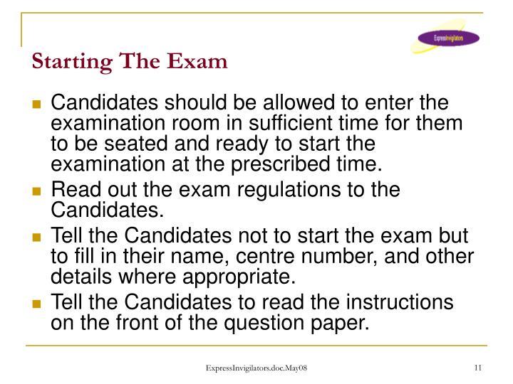 Starting The Exam