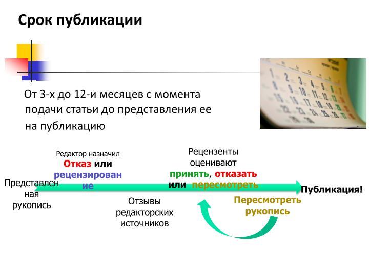 Срок публикации
