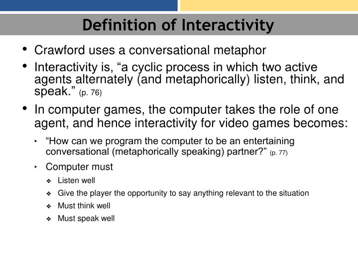 Definition of Interactivity