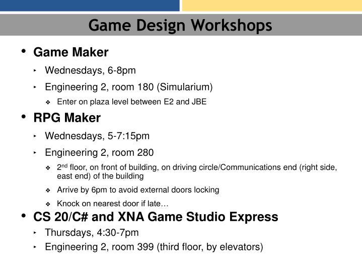 Game Design Workshops