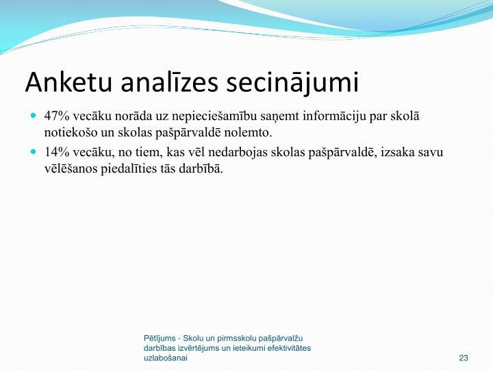 Anketu analīzes secinājumi