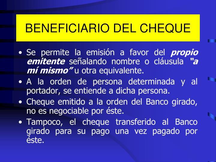 BENEFICIARIO DEL CHEQUE