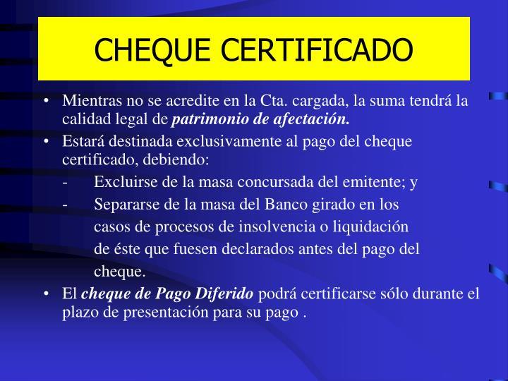 CHEQUE CERTIFICADO