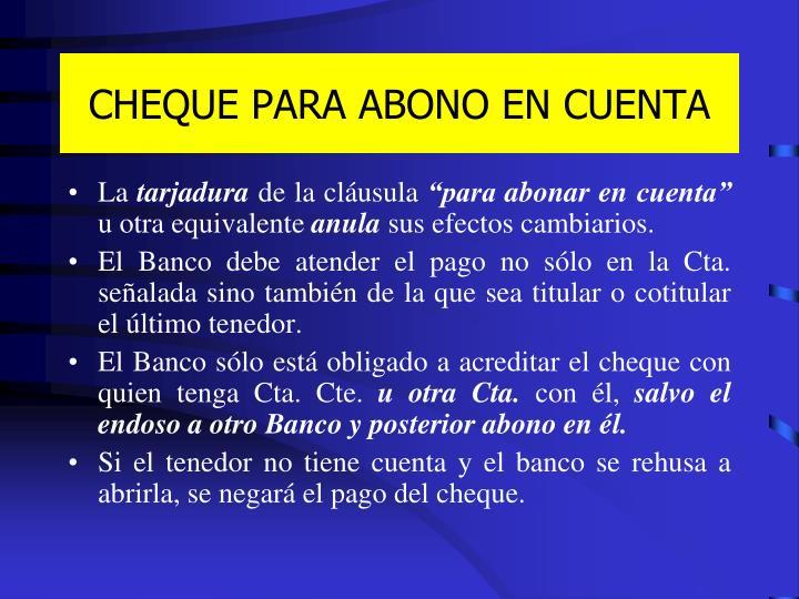 CHEQUE PARA ABONO EN CUENTA