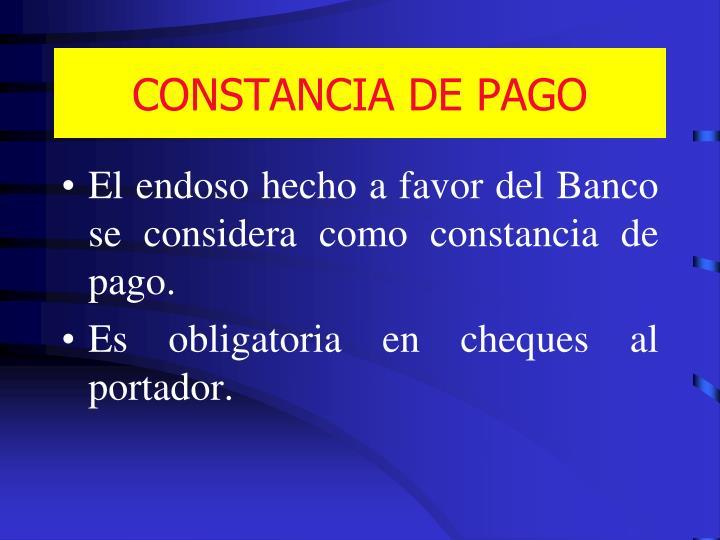 CONSTANCIA DE PAGO