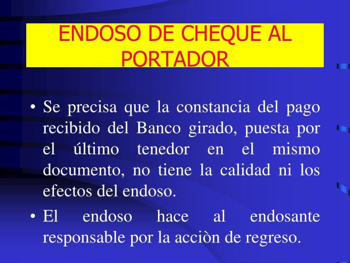 ENDOSO DE CHEQUE AL PORTADOR