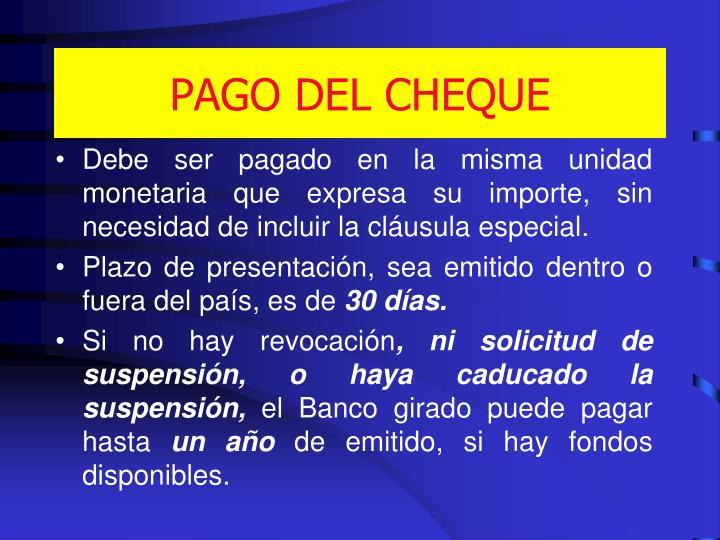 PAGO DEL CHEQUE