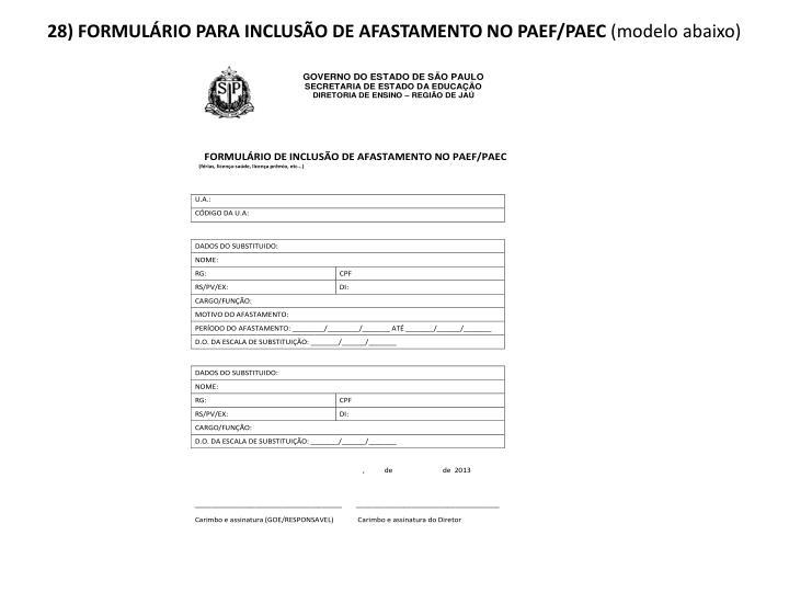 28) FORMULÁRIO PARA INCLUSÃO DE AFASTAMENTO NO PAEF/PAEC
