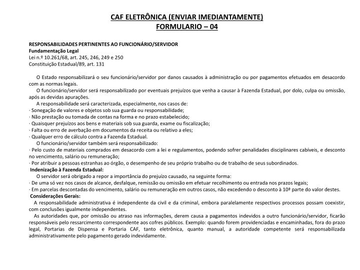 CAF Eletrônica (enviar