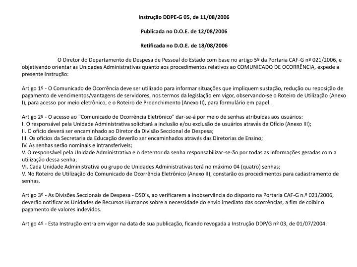 Instrução DDPE-G 05, de 11/08/2006