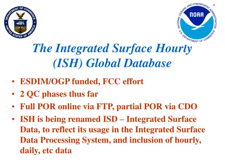 the integrated surface hourly ish global database n.