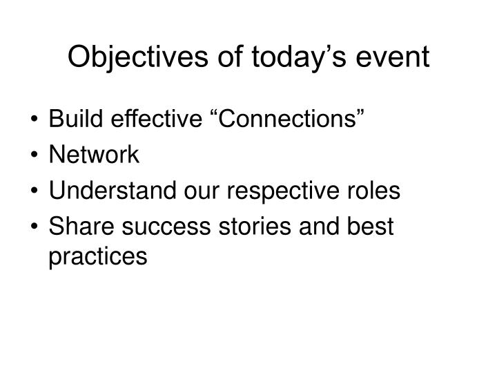 Objectives of today s event