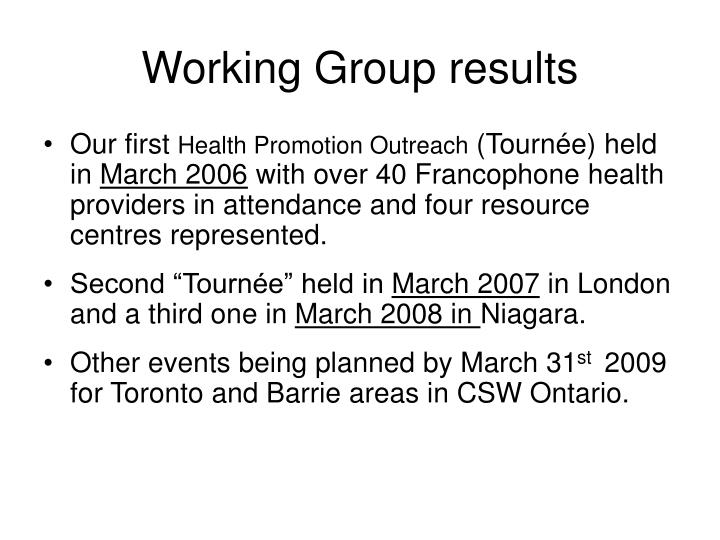 Working Group results