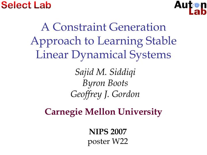 a constraint generation approach to learning stable linear dynamical systems n.