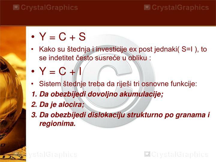 Y = C + S