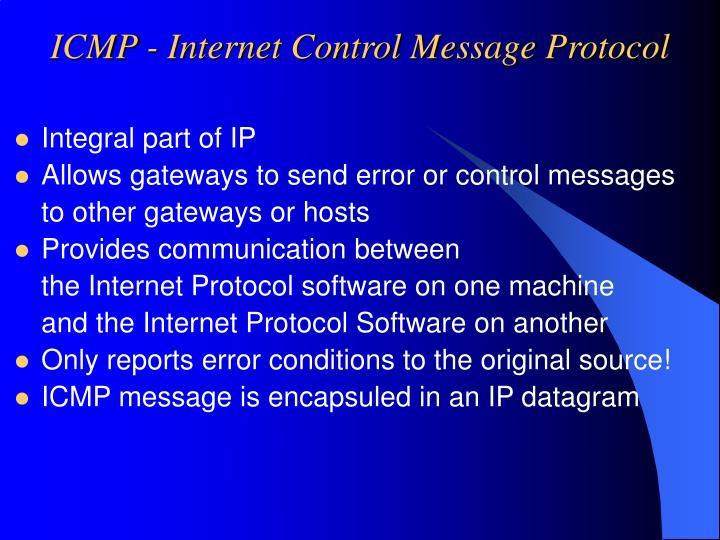 ICMP - Internet Control Message Protocol
