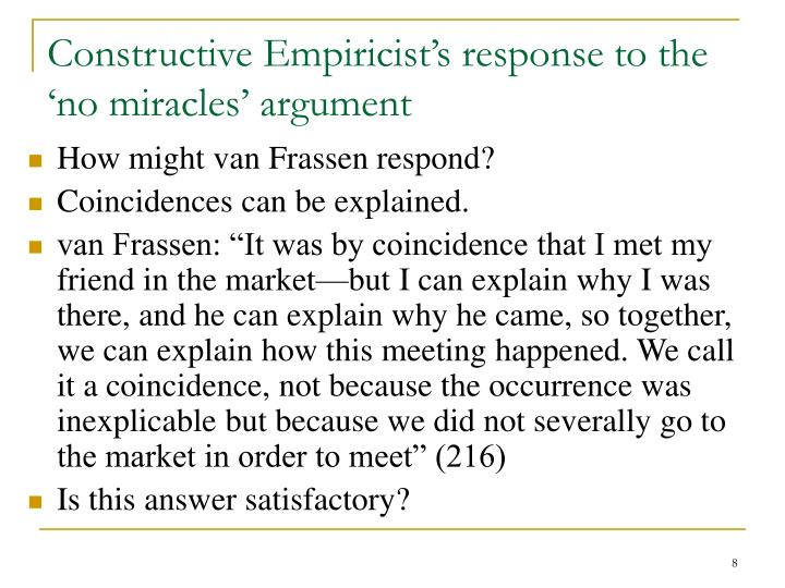 Constructive Empiricist's response to the 'no miracles' argument