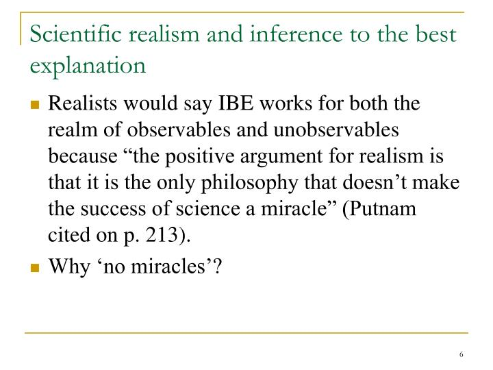 Scientific realism and inference to the best explanation