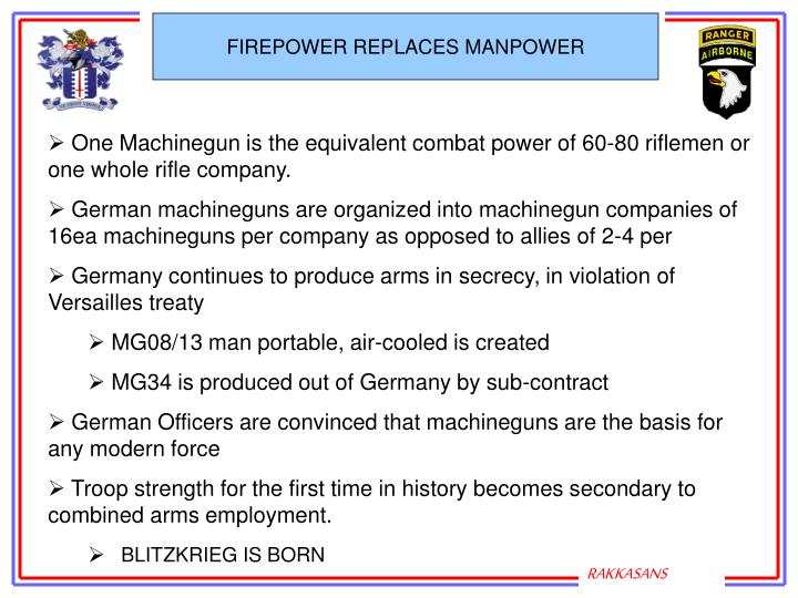 FIREPOWER REPLACES MANPOWER