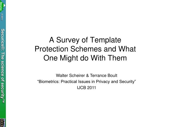 a survey of template protection schemes and what one might do with them