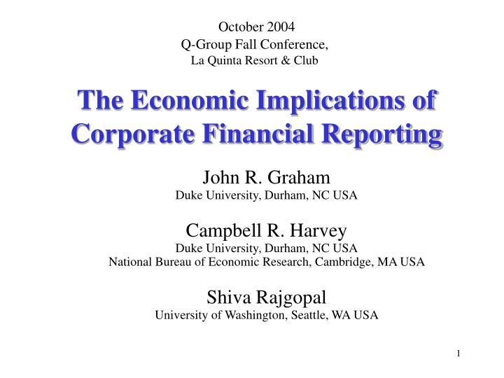 the economic implications of corporate financial reporting n.
