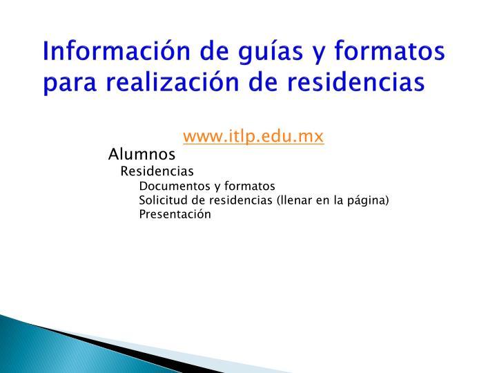 Información de guías y formatos para realización de residencias
