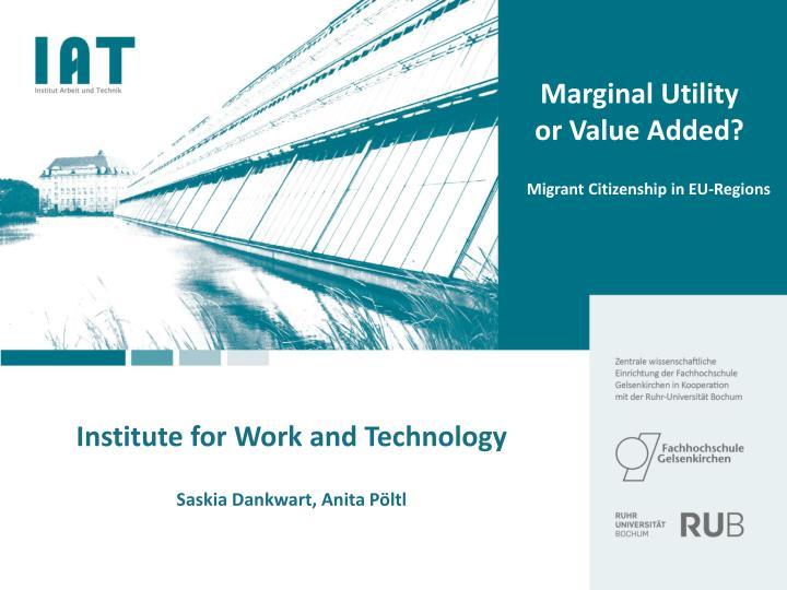 marginal utility or value added n.