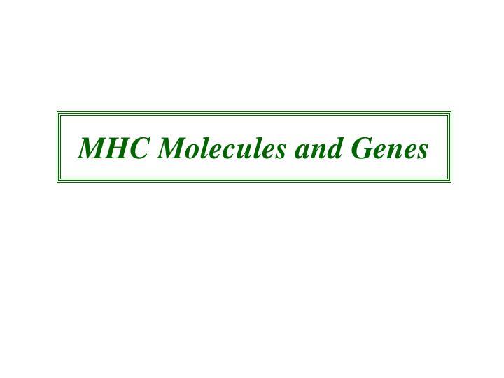 MHC Molecules and Genes