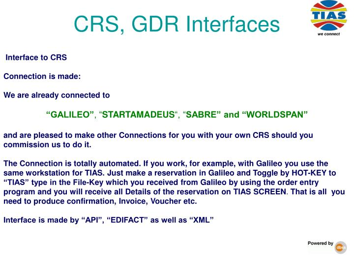 CRS, GDR Interfaces