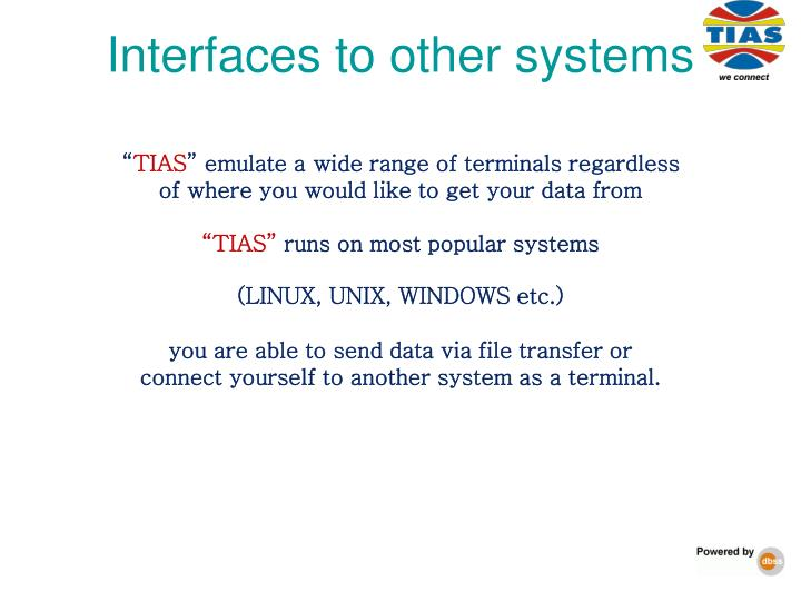 Interfaces to other